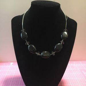 Black & Clear Bead Necklace on Silver Wire